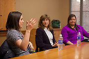 Kate Melenick a campus recruiter for JP MOrgan Chase talks about talks during a breakout session of the Ohio Women in Business event.  Photo by Ohio University / Jonathan Adams
