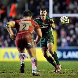 Freddie Burns of Leicester Tigers receives the ball - Photo mandatory by-line: Patrick Khachfe/JMP - Mobile: 07966 386802 13/02/2015 - SPORT - RUGBY UNION - Leicester - Welford Road - Leicester Tigers v Gloucester Rugby - Aviva Premiership