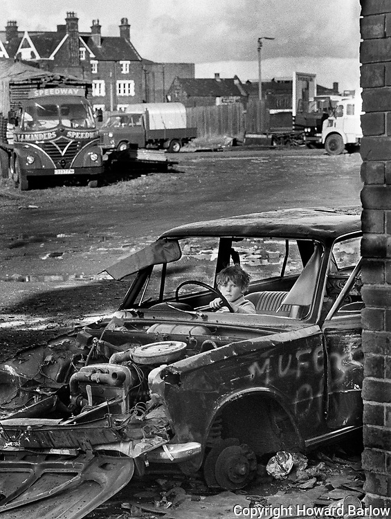 Boy in car - 1980 Salford<br />