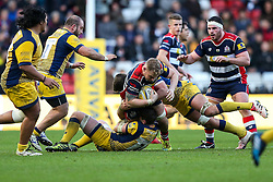 Mitch Eadie of Bristol Rugby is tackled by Sam Lewis of Worcester Warriors - Rogan Thomson/JMP - 26/12/2016 - RUGBY UNION - Ashton Gate Stadium - Bristol, England - Bristol Rugby v Worcester Warriors - Aviva Premiership Boxing Day Clash.