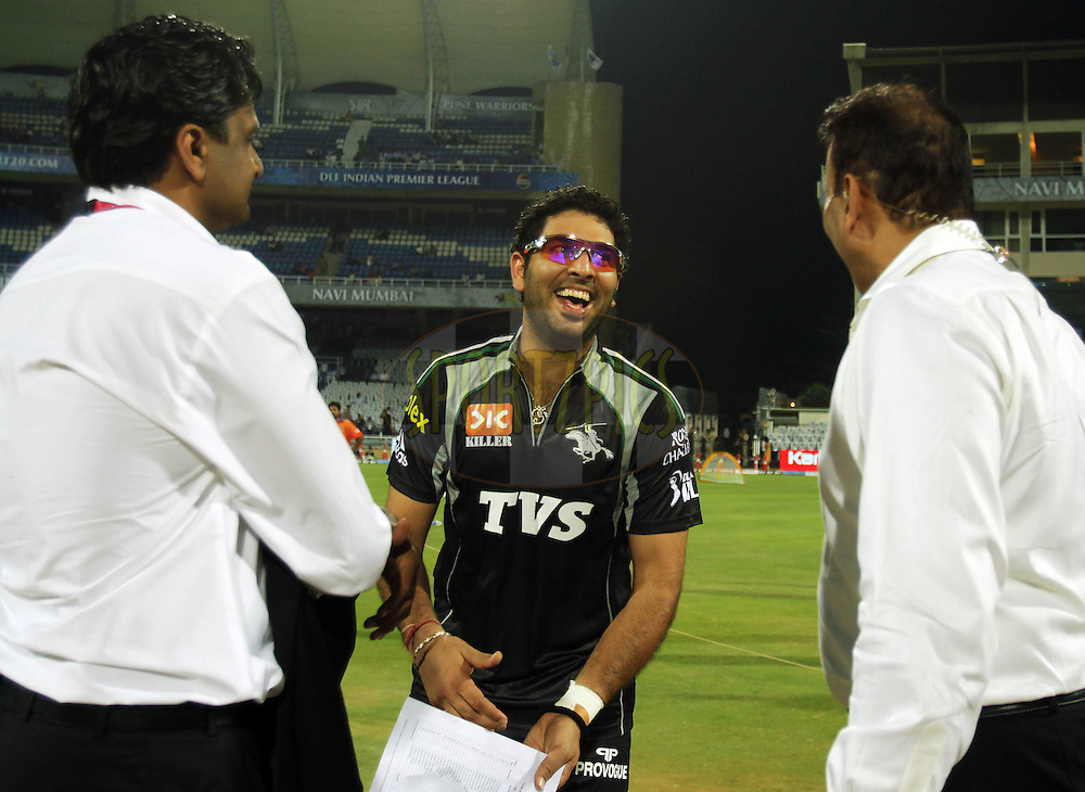 Pune Warriors captain Yuvraj Singh chats with Ravi Shashtri and Javagal Srinath during  match 10 of the Indian Premier League ( IPL ) Season 4 between the Pune Warriors and the Kochi Tuskers Kerala held at the Dr DY Patil Sports Academy, Mumbai India on the 13th April 2011..Photo by BCCI/SPORTZPICS