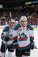 KELOWNA, CANADA - JANUARY 5: James Hilsendager #2 and Leif Mattson #28 of the Kelowna Rockets skate to the bench to celebrate a goal against the Seattle Thunderbirds on January 5, 2017 at Prospera Place in Kelowna, British Columbia, Canada.  (Photo by Marissa Baecker/Shoot the Breeze)  *** Local Caption ***