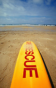 Surf Rescue' surf board on Fistral beach Newquay UK May 2002