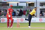 Jeetan Patel of the Birmingham Bears during the Vitality T20 Blast North Group match between Lancashire Lightning and Birmingham Bears at the Emirates, Old Trafford, Manchester, United Kingdom on 10 August 2018.