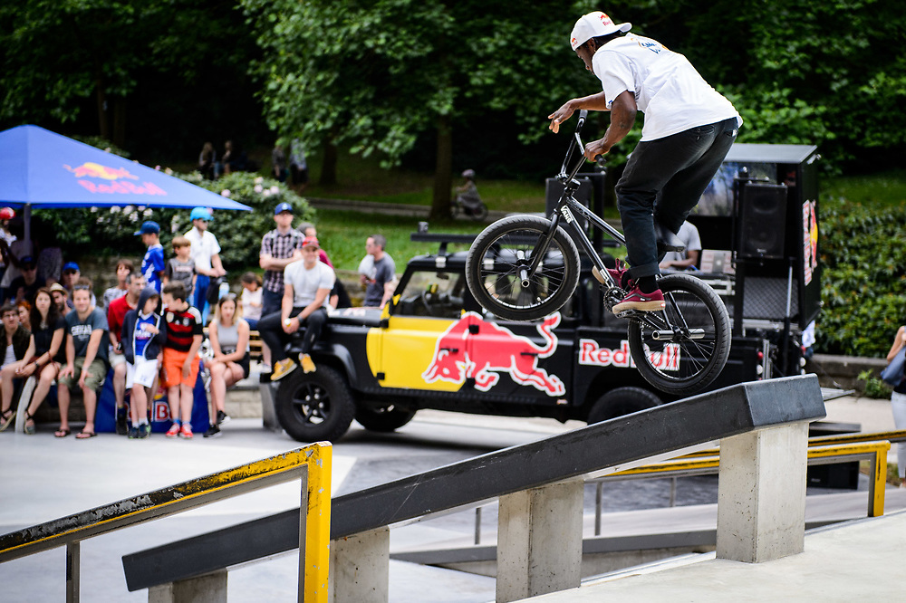 Courage Adams perform during Red Bull 3en1 at Skatepark Péitruss, Luxembourg, Luxembourg, June 3, 2017.