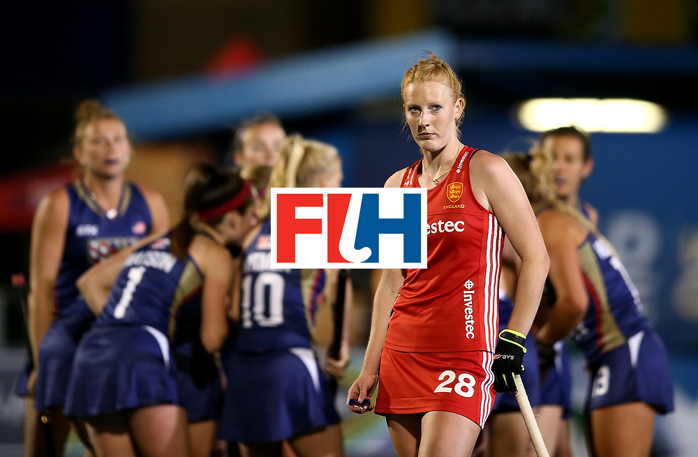 JOHANNESBURG, SOUTH AFRICA - JULY 20:  Nicola White of England looks at the big screen during day 7 of the FIH Hockey World League Women's Semi Finals semi final match between England and United Staes of America at Wits University on July 20, 2017 in Johannesburg, South Africa.  (Photo by Jan Kruger/Getty Images for FIH)