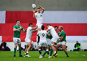 England second-row Stan South feeds scrum-half Max Green at a line out during the World Rugby U20 Championship Final   match England U20 -V- Ireland U20 at The AJ Bell Stadium, Salford, Greater Manchester, England onSaturday, June 25, 2016. (Steve Flynn/Image of Sport)