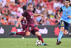 January 8, 2018 - Brisbane, QUEENSLAND, AUSTRALIA - Luke DeVere of the Roar (3) kicks the ball during the round fifteen Hyundai A-League match between the Brisbane Roar and Sydney FC at Suncorp Stadium on Monday, January 8, 2018 in Brisbane, Australia. (Credit Image: © Albert Perez via ZUMA Wire)