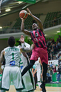 Shot of Yorman Polas Bartolo of Telekom Baskets Bonn and defense of Terray Petteway and Johan Passave Ducteil of Nanterre 92 team during the Champions League, Group D, basketball match between Nanterre 92 and Telekom Baskets Bonn on January 24, 2018 at Palais des Sports Maurice Thorez in Nanterre, France - Photo I-HARIS / ProSportsImages / DPPI