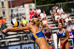 Tjasa Kotnik of Slovenia receiving ball during Beach Volleyball World Tour in Ljubljana 2020, on August 1, 2020 in Kongresni trg, Ljubljana, Slovenia. Photo by Grega Valancic / Sportida