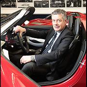 Paolo Pininfarina sulla concept car 2uettottanta, modello realizzato per  celebrare l'anniversario degli ottant'anni della Pininfarina. ..Centro Engineering Pininfarina di Cambiano (TO)