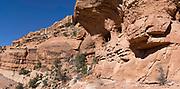 "Panoramic image of the abandoned Anasazi ruins called the ""Turkey Pen Ruins"" in Lower Mule Canyon, Comb Ridge, San Juan County, Utah, USA."