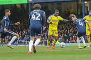 AFC Wimbledon attacker Michael Folivi (41) about to shoot on goal during the EFL Sky Bet League 1 match between Southend United and AFC Wimbledon at Roots Hall, Southend, England on 16 March 2019.