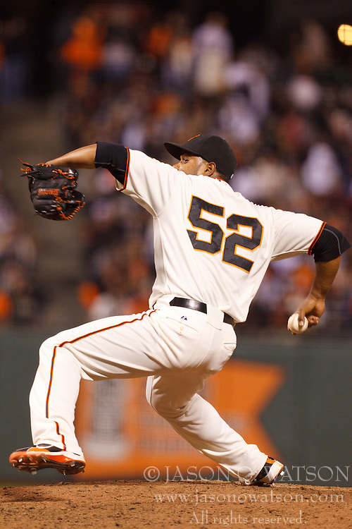 September 12, 2011; San Francisco, CA, USA;  San Francisco Giants relief pitcher Ramon Ramirez (52) pitches against the San Diego Padres during the seventh inning at AT&T Park. San Francisco defeated San Diego 8-3.