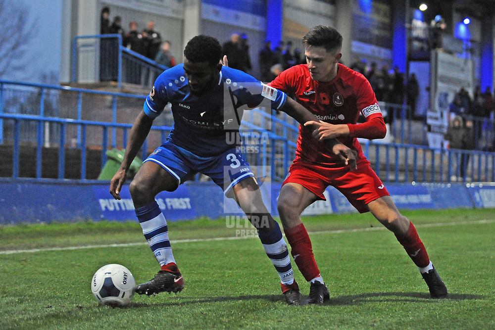 TELFORD COPYRIGHT MIKE SHERIDAN Ryan Barnett during the Vanarama National League Conference North fixture between Curzon Asthon and AFC Telford United on Saturday, November 9, 2019.<br /> <br /> Picture credit: Mike Sheridan/Ultrapress<br /> <br /> MS201920-028