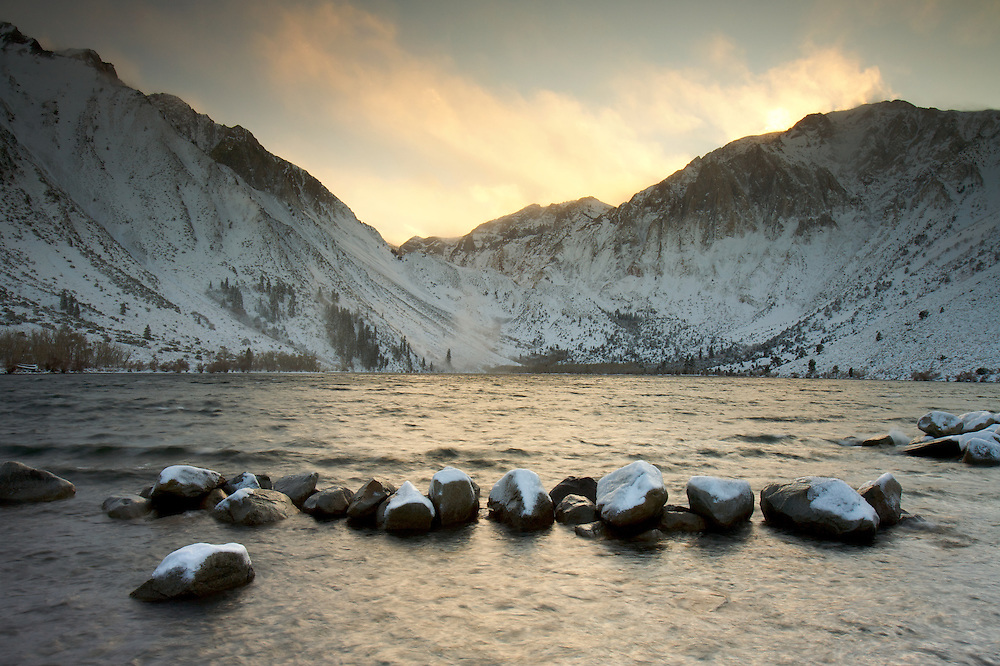 Convict Lake and Laurel Mountain at sunset on a windy winter day. Sierra Nevada Mountains, CA.
