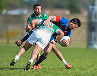 GEORGE, SOUTH AFRICA - SEPTEMBER 24: Lee-roy Poje of RSK Evergreens] stops Duncan Delport of Pirates during the Gold Cup 2016 match between RSK Evergreens and Pirates at Pacaltsdorp Sports Ground on September 24, 2016 in George, South Africa. (Photo by Roger Sedres/Gallo Images)