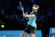 Rafael Nadal with a strong forehand return during the ATP World Tour Finals at the O2 Arena, London, United Kingdom on 20 November 2015. Photo by Phil Duncan.