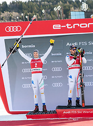 28.12.2018, Stelvio, Bormio, ITA, FIS Weltcup Ski Alpin, Abfahrt, Herren, Siegerehrung, im Bild Christof Innerhofer (ITA, 2. Platz), Dominik Paris (ITA, 1. Platz) // second placed Christof Innerhofer of Italy race winner Dominik Paris of Italy during the winner Ceremony for the men's Downhill of FIS Ski Alpine World Cup at the Stelvio in Bormio, Italy on 2018/12/28. EXPA Pictures © 2018, PhotoCredit: EXPA/ Johann Groder
