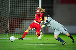 LLANELLI, WALES - Saturday, September 15, 2012: Wales' Sarah Wiltshire is fouled by Scotland's goalkeeper Gemma Fay but no penalty was awarded during the UEFA Women's Euro 2013 Qualifying Group 4 match at Parc y Scarlets. (Pic by David Rawcliffe/Propaganda)