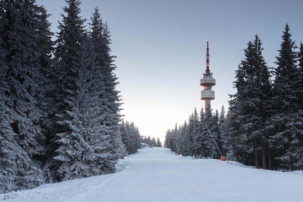 Radio tower around a ski slope