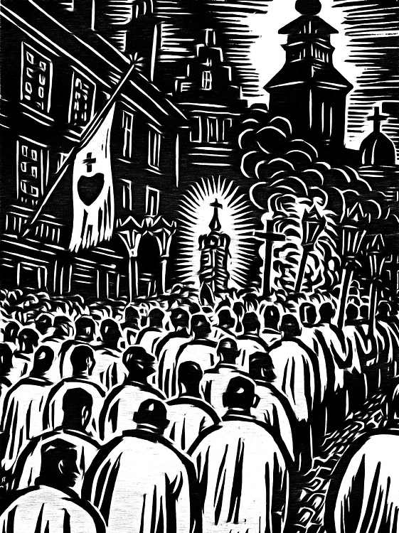 A black / white drawing of procession by priests in a big city