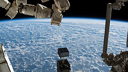 October 25, 2018 - Earth Atmosphere - The International Space Station was orbiting above the North Pacific Ocean near Alaska's Aleutian Islands. The International Space Station was orbiting 256 miles above the North Pacific Ocean and about 600 miles south of Alaska's Aleutian Islands. In the foreground, are portions of two major space station robotic systems. At right, is the Japanese robotic manipulator system which is attached to the Kibo laboratory module. At upper left, is part of the Canadian robotic manipulator system which can maneuver along various points on the space station. (Credit Image: © NASA via ZUMA Wire/ZUMAPRESS.com)