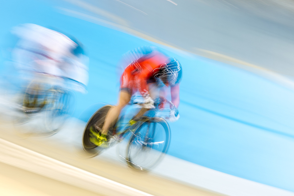 Matt  Baranoski of the United States competes in the men's cycling keirin at the 2015 Pan American Games in Toronto, Canada, July 19,  2015.  AFP PHOTO/GEOFF ROBINS