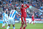 Birmingham City  forward, on loan from Burnley, Lukas Jutkiewicz (15) shows his disappointment during the EFL Sky Bet Championship match between Huddersfield Town and Birmingham City at the John Smiths Stadium, Huddersfield, England on 5 November 2016. Photo by Simon Davies.