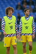 Chelsea defender David Luiz (30) and Chelsea defender Marcos Alonso (3) warming up before the Premier League match between Crystal Palace and Chelsea at Selhurst Park, London, England on 30 December 2018.