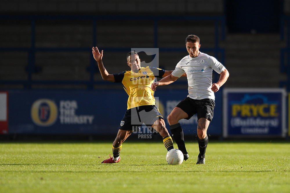 TELFORD COPYRIGHT MIKE SHERIDAN Andrai Jones and Zak Lilly of Telford during the Vanarama National League Conference North fixture between AFC Telford United and Guiseley on Saturday, October 19, 2019.<br /> <br /> Picture credit: Mike Sheridan/Ultrapress<br /> <br /> MS201920-026