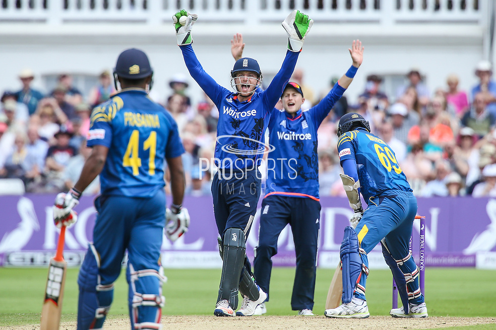 Englands Jos Buttler and Englands Joe Root make an appeal during the Royal London ODI match between England and Sri Lanka at Trent Bridge, West Bridgford, United Kingdon on 21 June 2016. Photo by Shane Healey.
