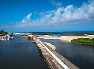 St. Gilles les Bain, Reunion -- January 20, 2018 -- A foot path leading to the Ocean in a marina on the island of Reunion. Editorial use only.