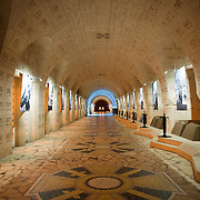 Inside the Douaumont ossuary (L'ossuaire de Douaumont) built in 1932 is a memorial containing the remains of soldiers who died at the battle of Verdun (21 February 1916 – 19 December 1916) During the battle 230.000 man died.  Ossuaire de Verdun, Verdun, ‪Meuse‬, France