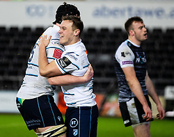 Jarrod Evans of Cardiff Blues celebrates scoring his sides first try<br /> <br /> Photographer Simon King/Replay Images<br /> <br /> Guinness PRO14 Round 8 - Ospreys v Cardiff Blues - Saturday 21st December 2019 - Liberty Stadium - Swansea<br /> <br /> World Copyright © Replay Images . All rights reserved. info@replayimages.co.uk - http://replayimages.co.uk
