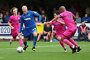 AFC Wimbledon striker Joe Pigott (39) shaping up to shoot during the EFL Sky Bet League 1 match between AFC Wimbledon and Rochdale at the Cherry Red Records Stadium, Kingston, England on 5 October 2019.