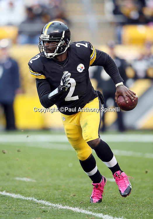 Pittsburgh Steelers quarterback Mike Vick (2) scrambles while looking to pass during the 2015 NFL week 6 regular season football game against the Arizona Cardinals on Sunday, Oct. 18, 2015 in Pittsburgh. The Steelers won the game 25-13. (©Paul Anthony Spinelli)