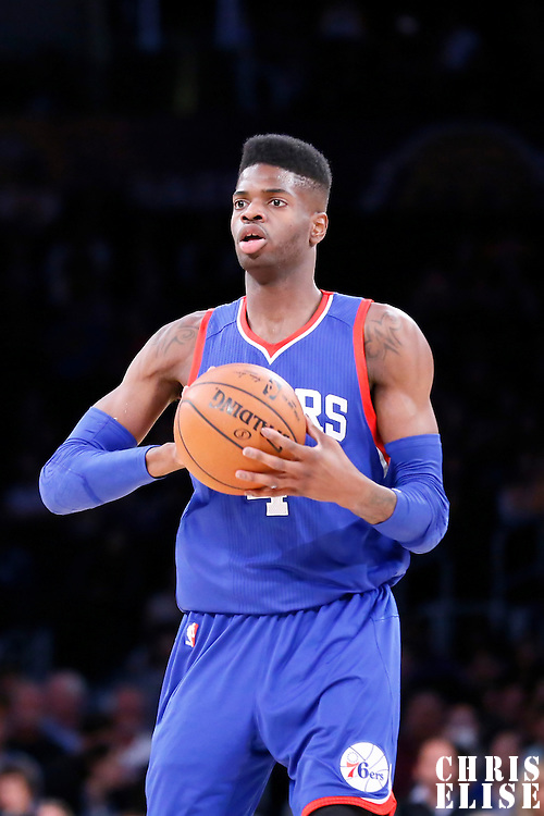 22 March 2015: Philadelphia 76ers center Nerlens Noel (4) looks to pass the ball during the Los Angeles Lakers 101-87 victory over the Washington Wizards, at the Staples Center, Los Angeles, California, USA.