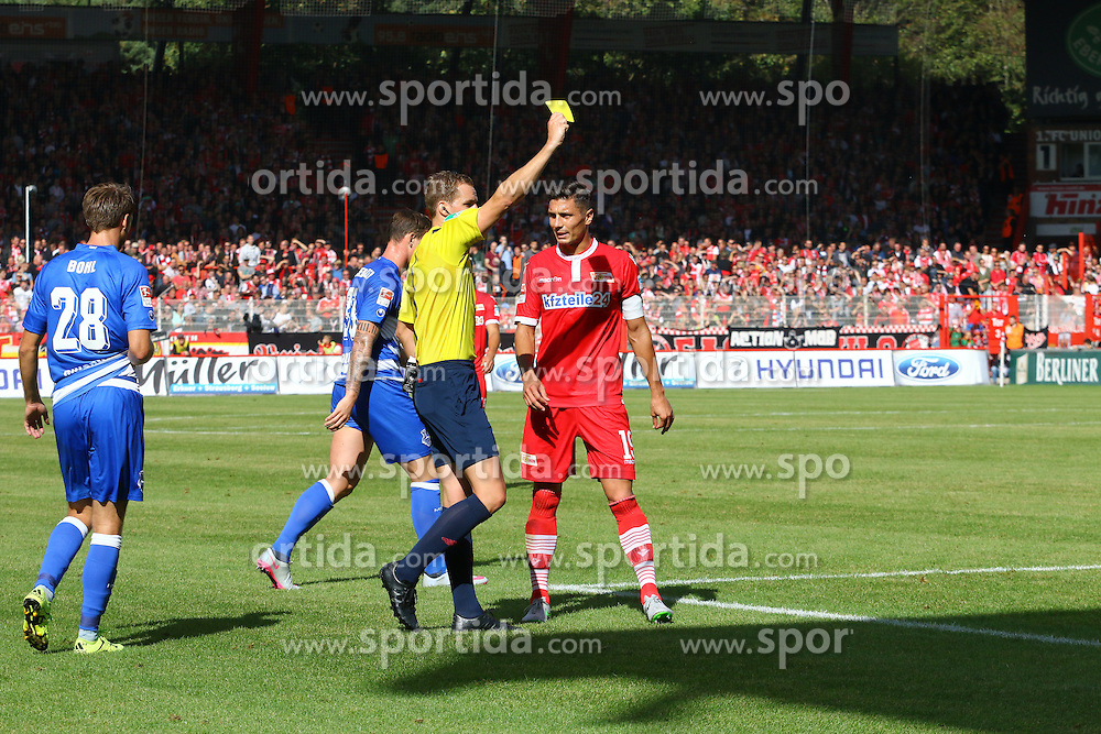26.09.2015, Alte Foersterei, Berlin, GER, 2. FBL, 1. FC Union Berlin vs MSV Duisburg, 9. Runde, im Bild Gelbe Karte fuer Christopher Trimmel (#28, FC Union Berlin) // SPO during the 2nd German Bundesliga 9th round match between 1. FC Union Berlin and MSV Duisburg at the Alte Foersterei in Berlin, Germany on 2015/09/26. EXPA Pictures &copy; 2015, PhotoCredit: EXPA/ Eibner-Pressefoto/ Hundt<br /> <br /> *****ATTENTION - OUT of GER*****