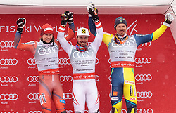 18.03.2018, Aare, SWE, FIS Weltcup Ski Alpin, Finale, Aare, Slalom Weltcup, Herren, Siegerehrung, im Bild v.l. Henrik Kristoffersen (NOR, Gesamt Weltcup 2. Platz, Slalom Weltcup 2. Platz, Rieseslalom Weltcup 2. Platz), Marcel Hirscher (AUT, Gesamt Weltcup 1. Platz und Slalom Weltcup 1. Platz), Andre Myhrer (SWE, Slalom Weltcup 3. Platz) // f.l. Overall World Cup second placed Giant Slalom World Cup second placed and Slalom World Cup second placed Henrik Kristoffersen of Norway Overall World Cup winner Slalom World Cup winner and Giant Slalom World Cup winner Marcel Hirscher of Austria Slalom World Cup third placed Andre Myhrer of Sweden during the winner Ceremony for the men's Slalom Worlcup of FIS Ski Alpine World Cup finals in Aare, Sweden on 2018/03/18. EXPA Pictures © 2018, PhotoCredit: EXPA/ Johann Groder