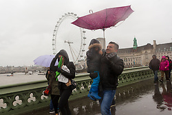 © Licensed to London News Pictures. 03/01/2016. London, UK. A man's umbrella is blown inside out by a gust of wind as he walks across Westminster Bridge. London and the UK has experienced heavy rain and wind today. Photo credit : Vickie Flores/LNP