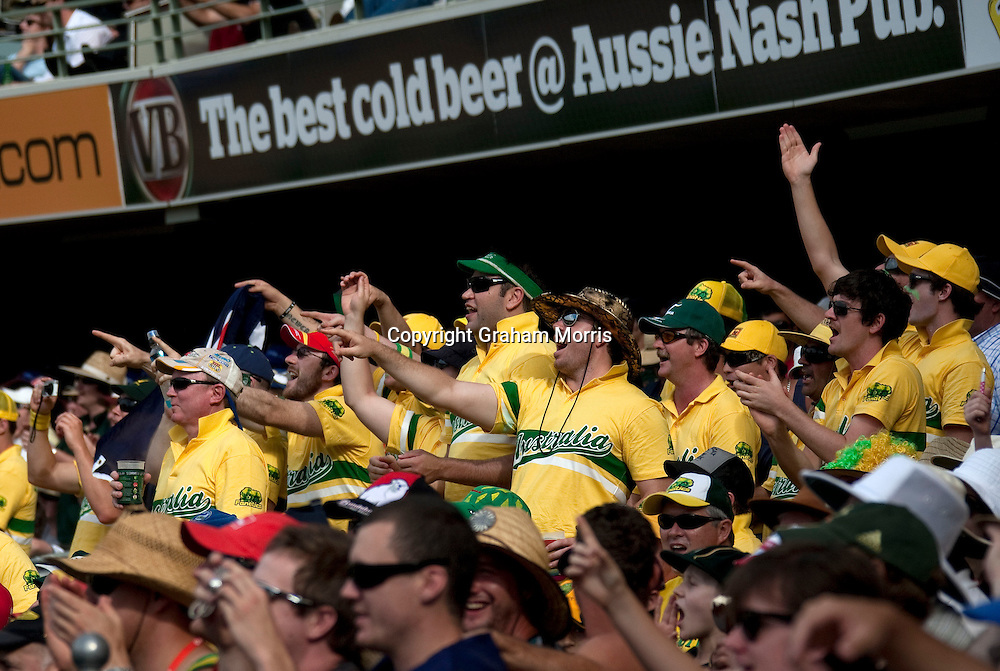 Australian supporters during the first Ashes Test Match between Australia and England at the Gabba, Brisbane. Photo: Graham Morris (Tel: +44(0)20 8969 4192 Email: sales@cricketpix.com) 27/11/10
