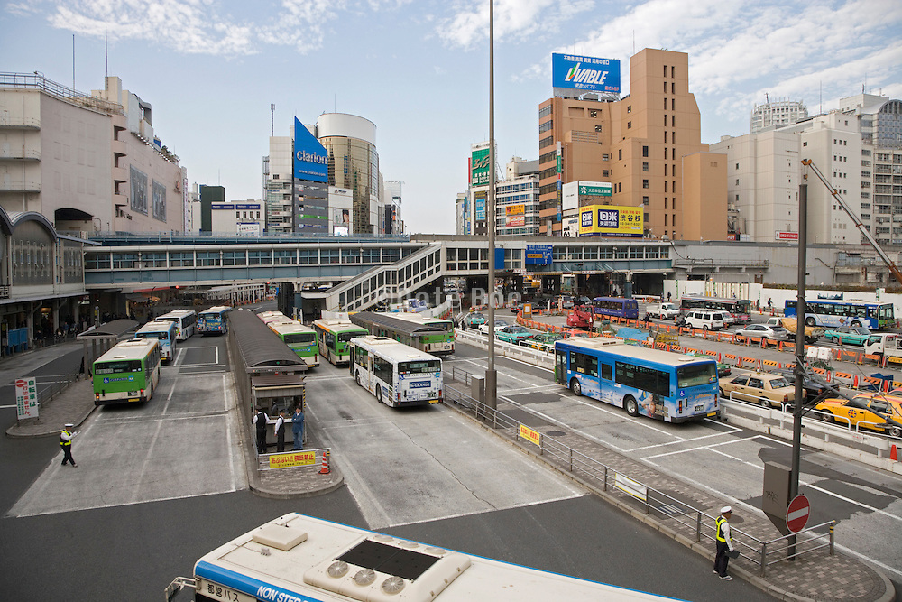 over view of a bus and taxi station near Shinjuku in Tokyo