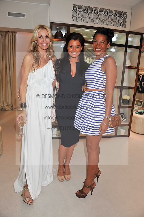 Left to right, MELISSA ODABASH, JESSICA WRIGHT (wearing Diva) from TV's Only Way is Essex and stylist KAREN WILLIAMS at the opening of the new Melissa Odabash store in Walton Street, London SW3 on 7th July 2011.