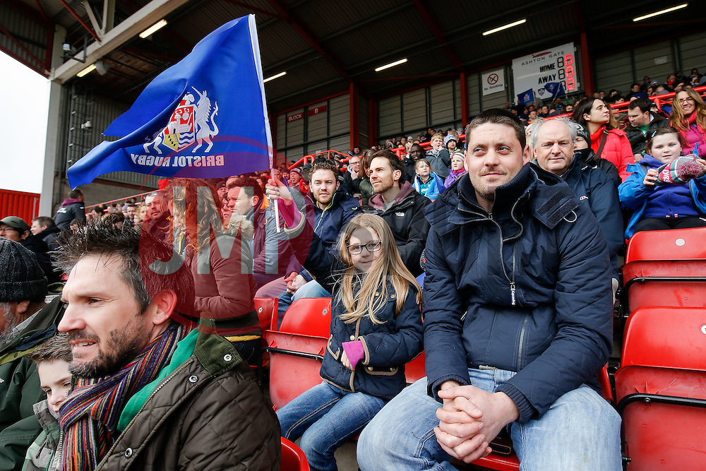 TAG, Super Sunday and Legacy project children wathch the match from the Atyeo Stand - Photo mandatory by-line: Rogan Thomson/JMP - 07966 386802 - 29/03/2015 - SPORT - Rugby Union - Bristol, England - Ashton Gate Stadium - Bristol Rugby v Bedford Blues - Greene King IPA Championship.