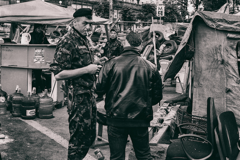Ukraine - Kyiv - 07 May 2014 - Soldiers of the right sector guarding check point on Maidan place in Kiev.