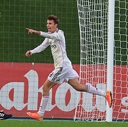 MADRID, SPAIN - Tuesday, November 4, 2014: Real Madrid CF's Borja Mayoral celebrates scoring the third goal against Liverpool during the UEFA Youth League Group B match at Ciudad Real Madrid. (Pic by David Rawcliffe/Propaganda)