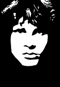 Black and white, hand drawn, picture of Jim Morrison lead singer and lyricist of The Doors. (December 8, 1943 – July 3, 1971)