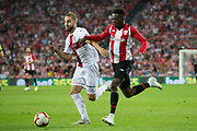 Williams of Athletic Club and Pulido of SD Huesca in action during the Spanish Championship La Liga match played in San Mames Stadium between Athletic Club and SD Huesca in Bilbao, Spain, at August 27th, 2018, Photo UGS / SpainProSportsImages / DPPI / ProSportsImages / DPPI
