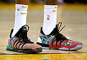 May 31, 2018; Oakland, CA, USA; A view of shoes of Golden State Warriors forward Kevin Durant (35) during the first quarter against the Cleveland Cavaliers in game one of the 2018 NBA Finals at Oracle Arena.